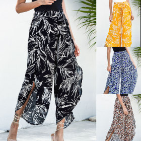 Four color printed casual wide leg pants