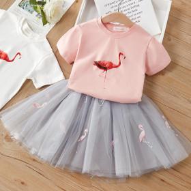 Cartoon printed Flamingo T-shirt + mesh skirt two piece set