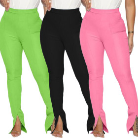 Sexy women's multicolor pants with split hem casual pants