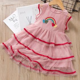 Mesh dress rainbow embroidery fly sleeve mesh cake skirt