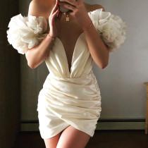 Fashion Satin off shoulder flying sleeve pleated skirt dress