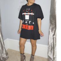 Letter print offset loose T-shirt dress