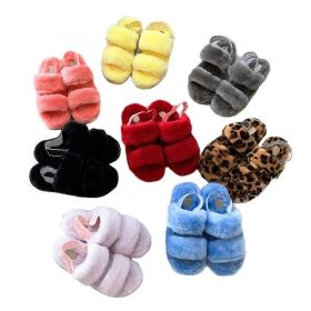 Large plush sandals with thick bottom and elastic band