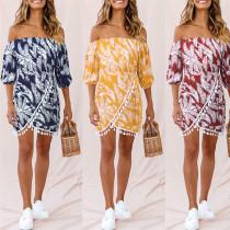 One shoulder fringe high waist irregular leaf Printed Dress