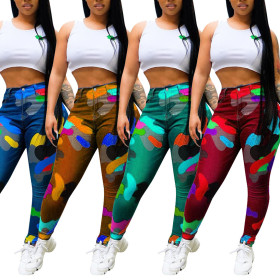 Color camouflage printing pants