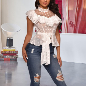 Buckle open back pleated top (including belt)