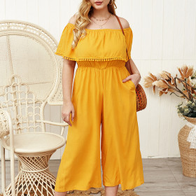 One shoulder light yellow Jumpsuit wide leg casual pants