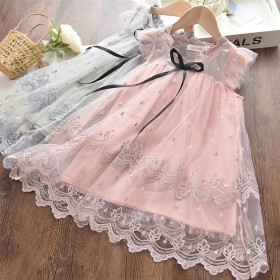 Lovely princess wind children's dress embroidered mesh puff skirt