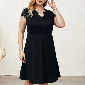 Lace Panel black sexy dress