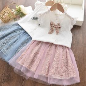 Two piece sleeveless bow shirt + sweet mesh skirt