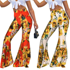 Printed high waisted flare pants holiday style large Leggings