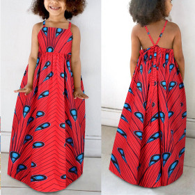 Printed children's suspender open back dress with adjustable strap