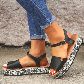 Women's sandals with floral floss and sponge cake buckle