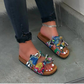 Sandal bow Flat bottom women's shoes and slippers