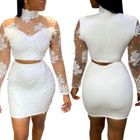 Embroidered net with pearl and ostrich hair two piece leisure suit