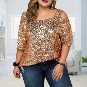 Sexy off shoulder loose Sequin top