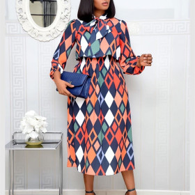 Lace up printed long sleeve African dress