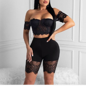 One shoulder Lace Sexy two piece set