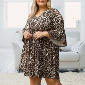 Large pleated leopard print dress