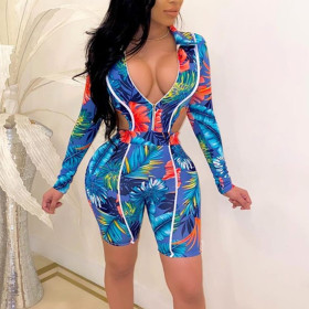 Fashion casual suit printed two piece set
