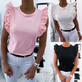 Special lace round neck solid sleeveless top