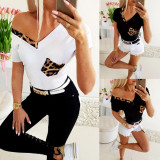 Featured V-neck leopard Casual Short Sleeve Top