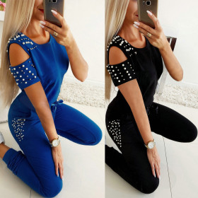 Hot selling slim hollow nail bead casual suit