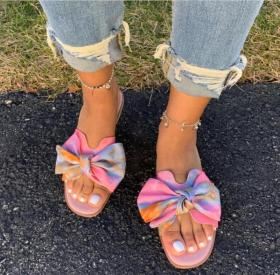Flat print bow sandals and slippers