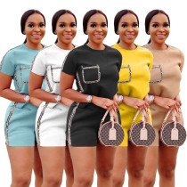 Solid color and gold edge Casual Short Sleeve T-Shirt set