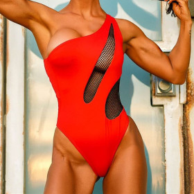 Solid mesh bikini one shoulder red swimwear