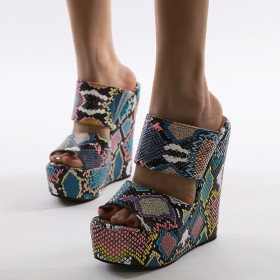 Colorful snake pattern high heel slope and water platform sandals