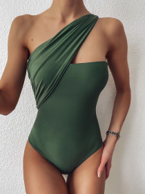 One shoulder one piece swimsuit sexy solid bikini