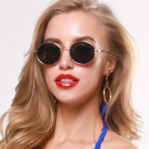 Metal retro oval sunglasses and sunglasses
