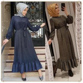 Fashion solid color elegant high-end crystal elastic flash knitted dress