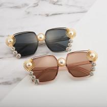 Summer fashion pearl big frame with diamond seaside holiday Sunglasses