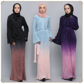 Light color pleated Muslim fashion Gown Dress