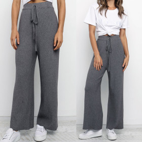 High waist straight tube elastic waist hot casual pants