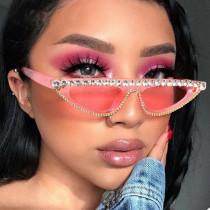 New Cat Eye Sunglasses Women Fashion Brand Designer Vintage Rhinestone Sun Glasses Pink Sexy Cateye Glasses Gafas De Ojo De Gato
