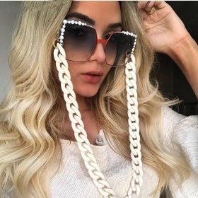 Vintage Acrylic Eyeglass Chain Women Men Fashion Eyewear Cord Reading Glasses Holders Rope Black White Beaded Lanyard