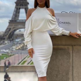 Fashion pearl Halter open back shoulder bag hip dress