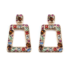 Geometric square earrings earrings female luxurious water diamond creative Earrings