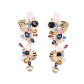 Diamond inlaid flower earrings with pearl like color crystal earrings