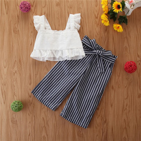 Children's flying sleeve suspender Top + striped wide leg pants two-piece set