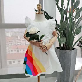 Rainbow open back girl's dress princess skirt