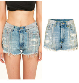 Tassel show wide leg high waist heavy industry fashion diamond chain denim shorts