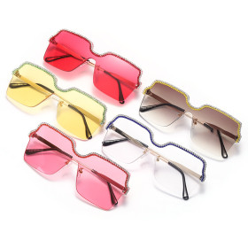 Fashionable rimless hand chain Sunglasses ocean film sunglasses metal large frame glasses