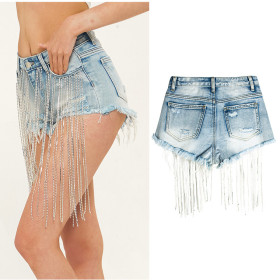 Wide leg, long flow, high waist, heavy industry, fashion diamond chain denim shorts