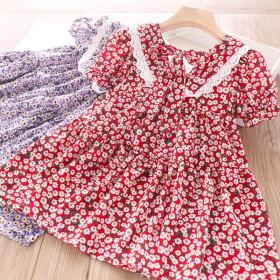 Lace V-neck print floral back lace up skirt children's dress