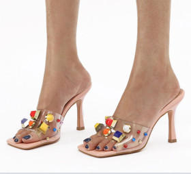 Color drill, water drill, transparent sandals, thin high heels