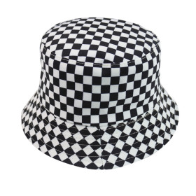 Plaid element sun hat female Japanese fisherman hat can be worn on both sides